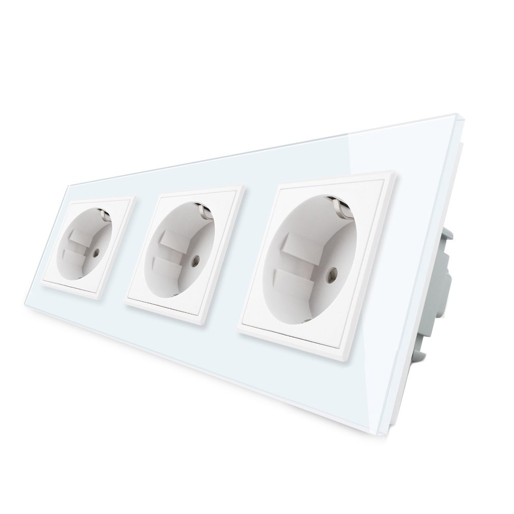 Enchufe triple tipo SCHUKO EU de 16A, frontal blanco